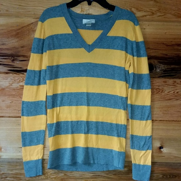 Loft Sweaters Grey Yellow Striped Sweater Poshmark